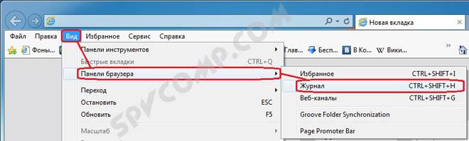 журнал посещений история Internet Explorer открыть, посмотреть, где находится, удалить, очистить