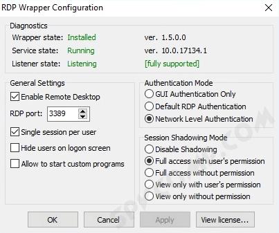 несколько rdp сессий, пользователей удаленного рабочего стола, Windows 10, одновременно, патч rdp termsrv.dll, RDP Wrapper Library